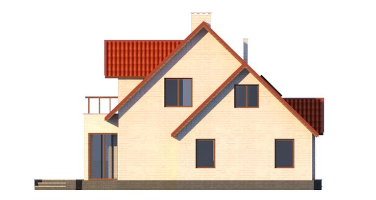 Фасад мансардного дома с террасой, гаражом и балконом «КМ-14» - справа
