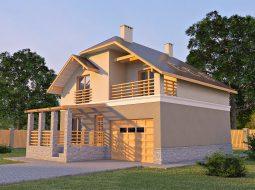 Проект мансардного дома с террасой, гаражом и балконом «КМ-17»