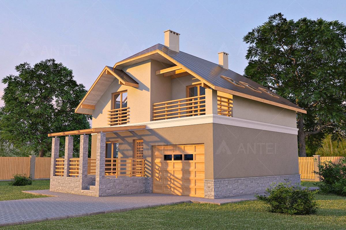 Проект мансардного дома с террасой, гаражом и балконом «КМ-17» - фото №1