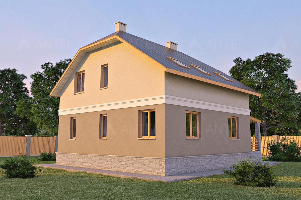 Проект мансардного дома с террасой, гаражом и балконом «КМ-17» - фото №2