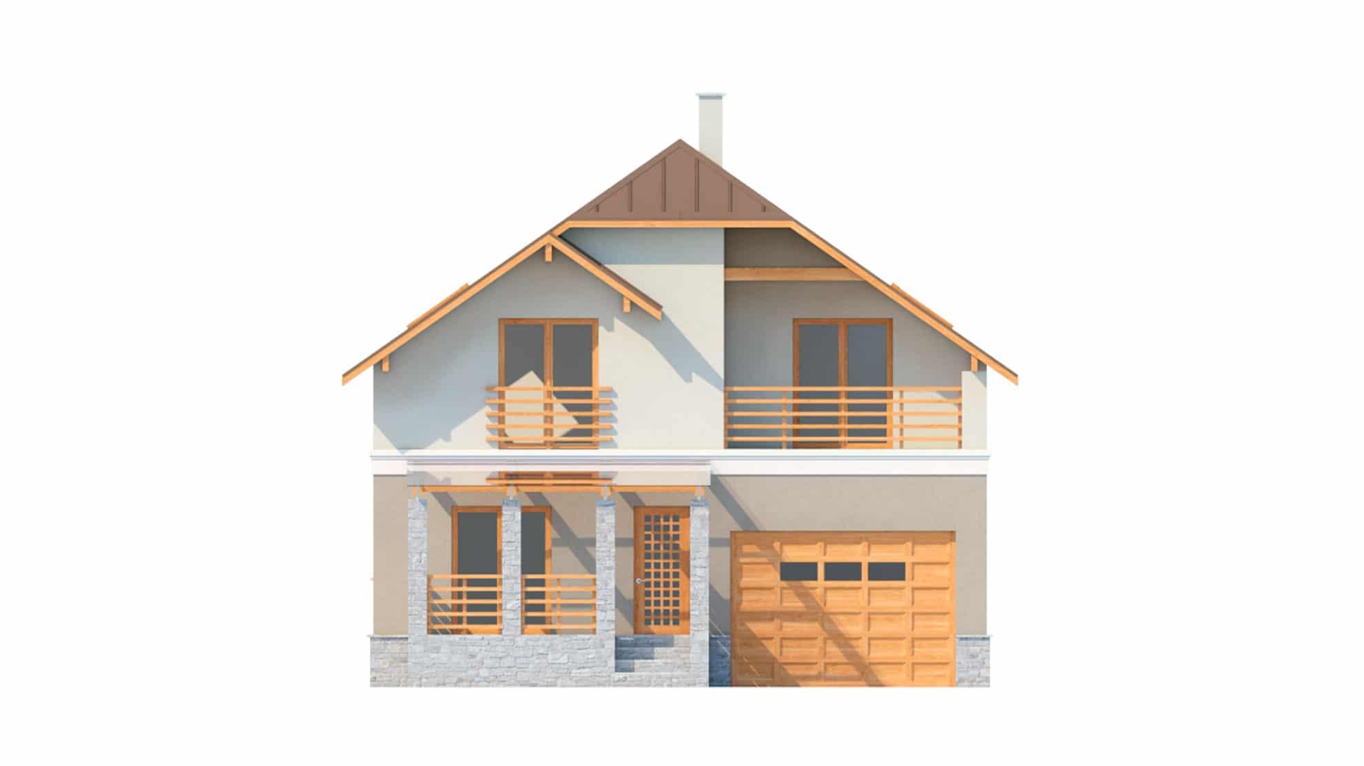 Фасад мансардного дома с террасой, гаражом и балконом «КМ-17» - спереди