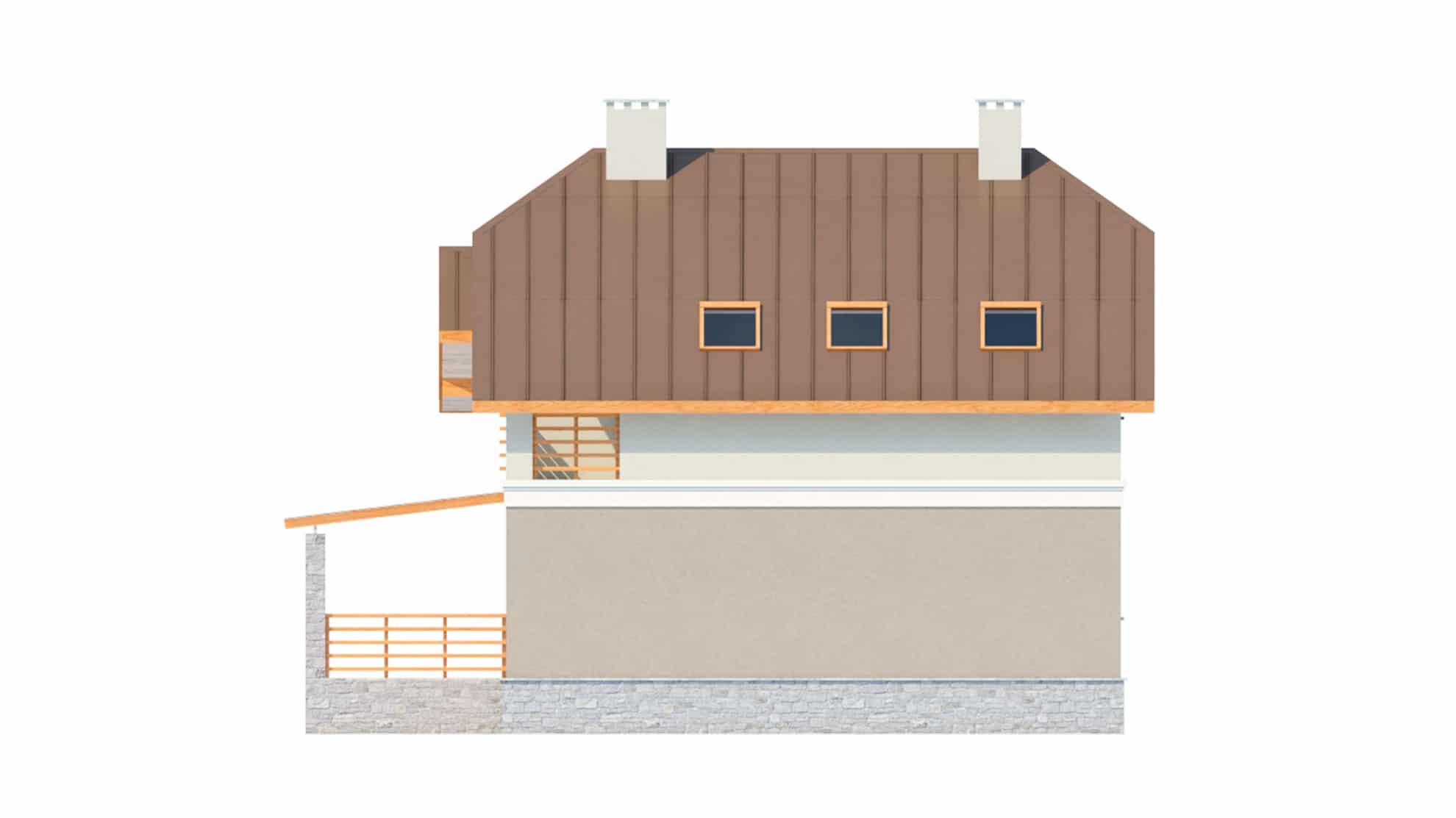 Фасад мансардного дома с террасой, гаражом и балконом «КМ-17» - справа