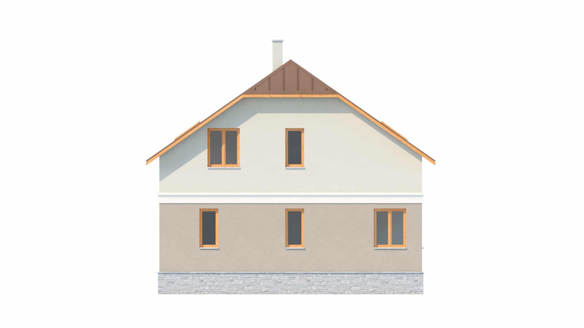 Фасад мансардного дома с террасой, гаражом и балконом «КМ-17» - сзади