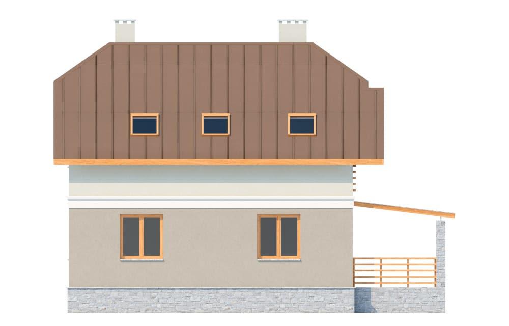 Фасад мансардного дома с террасой, гаражом и балконом «КМ-17» - слева