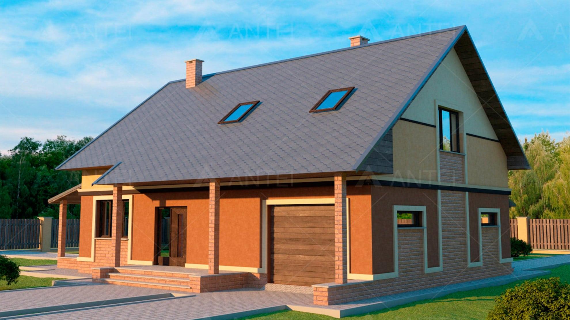 Проект мансардного дома с гаражом «КМ-18» - фото №2