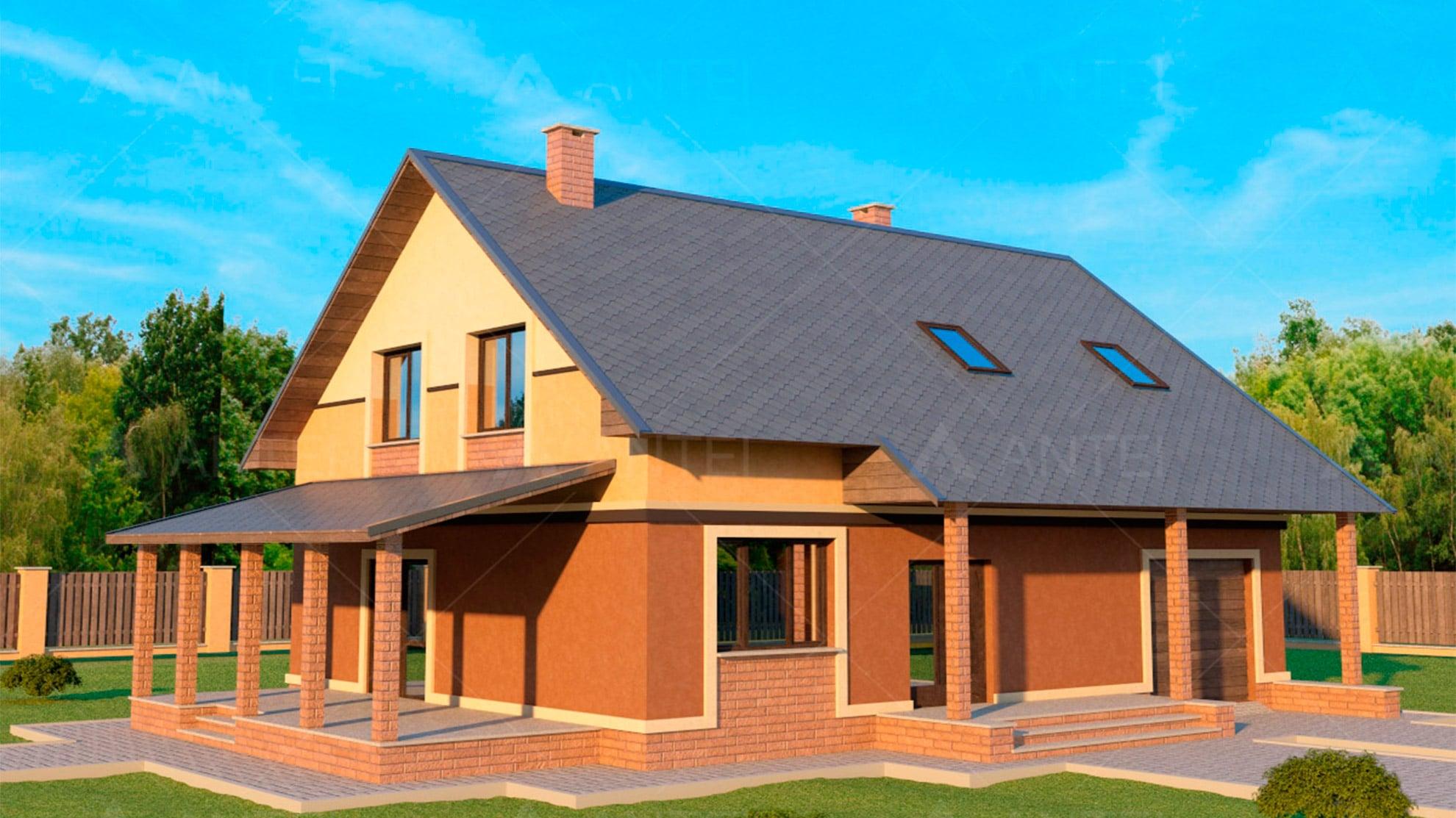 Проект мансардного дома с гаражом «КМ-18» - фото №1