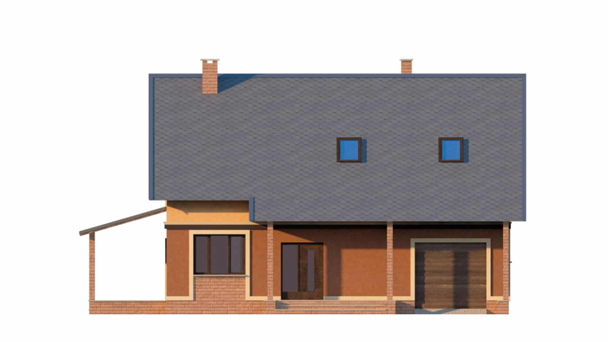 Фасад мансардного дома с гаражом «КМ-18» - спереди