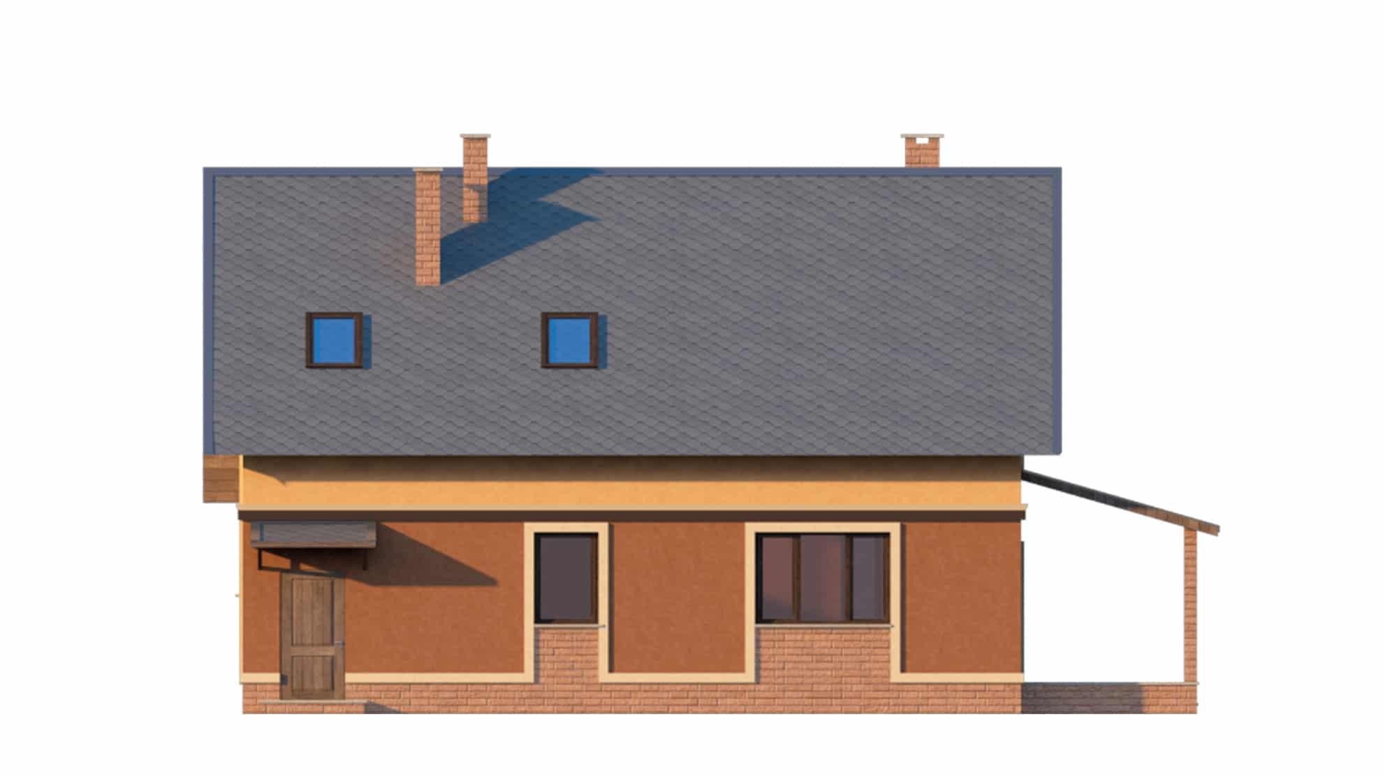 Фасад мансардного дома с гаражом «КМ-18» - сзади