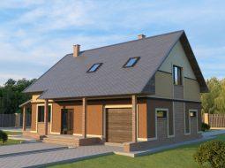 Проект мансардного дома с гаражом «КМ-18»
