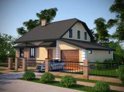 Проект мансардного дома с гаражом «КМ-19»