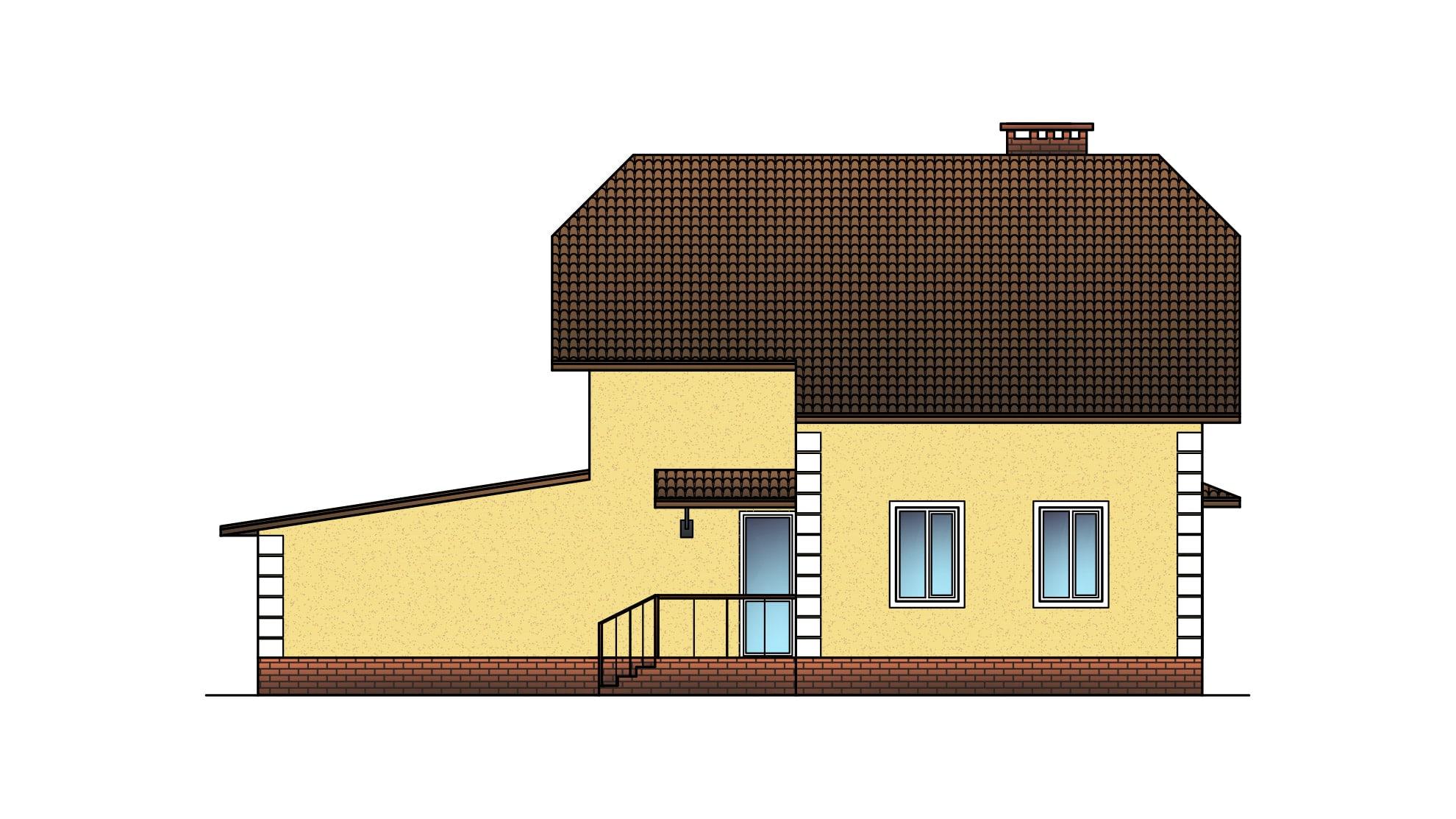 Фасад мансардного дома с гаражом «КМ-19» - сзади
