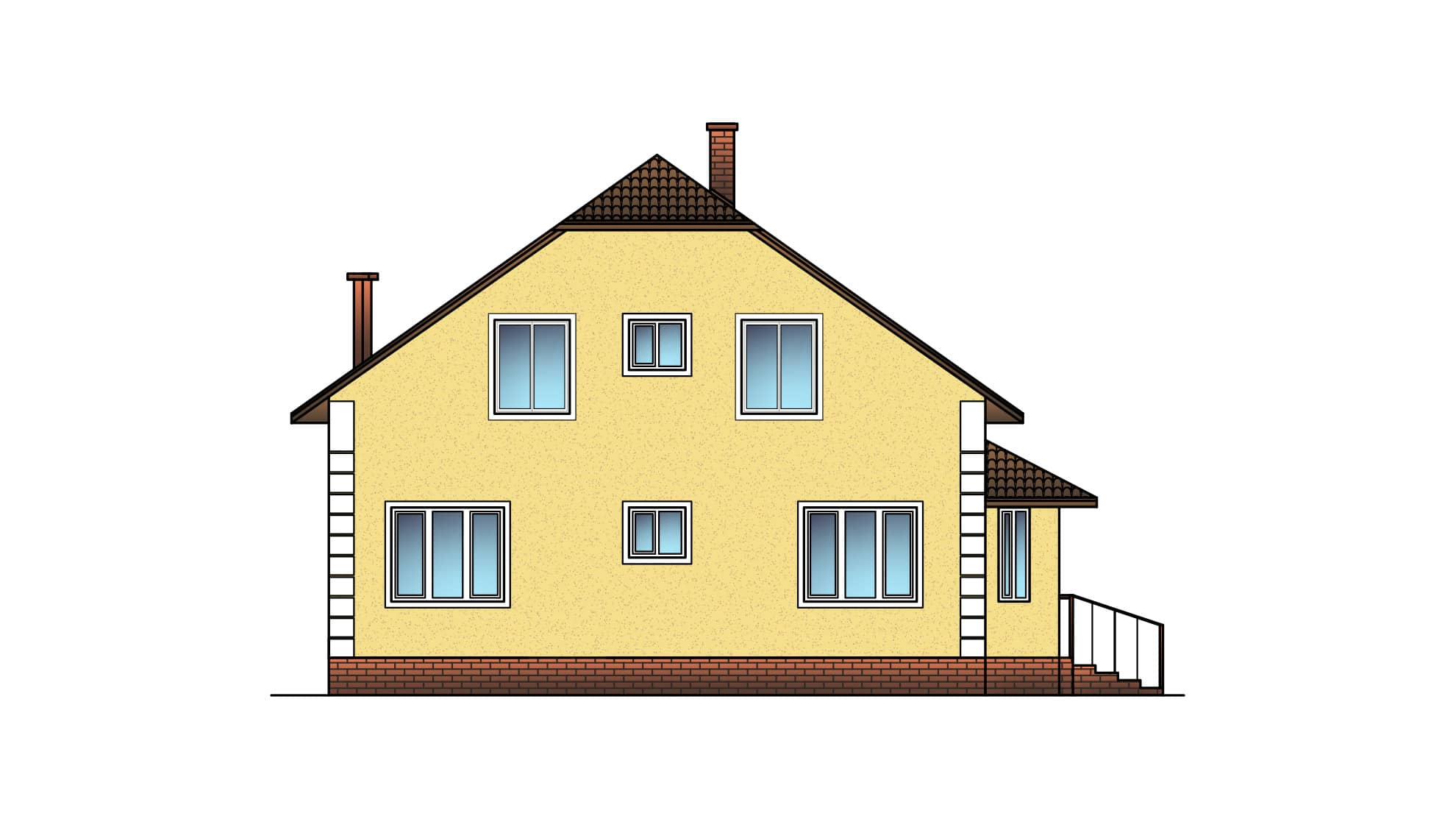 Фасад мансардного дома с гаражом «КМ-19» - слева