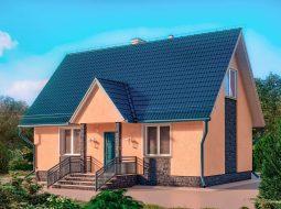 Проект мансардного дома с террасой «КМ-2»