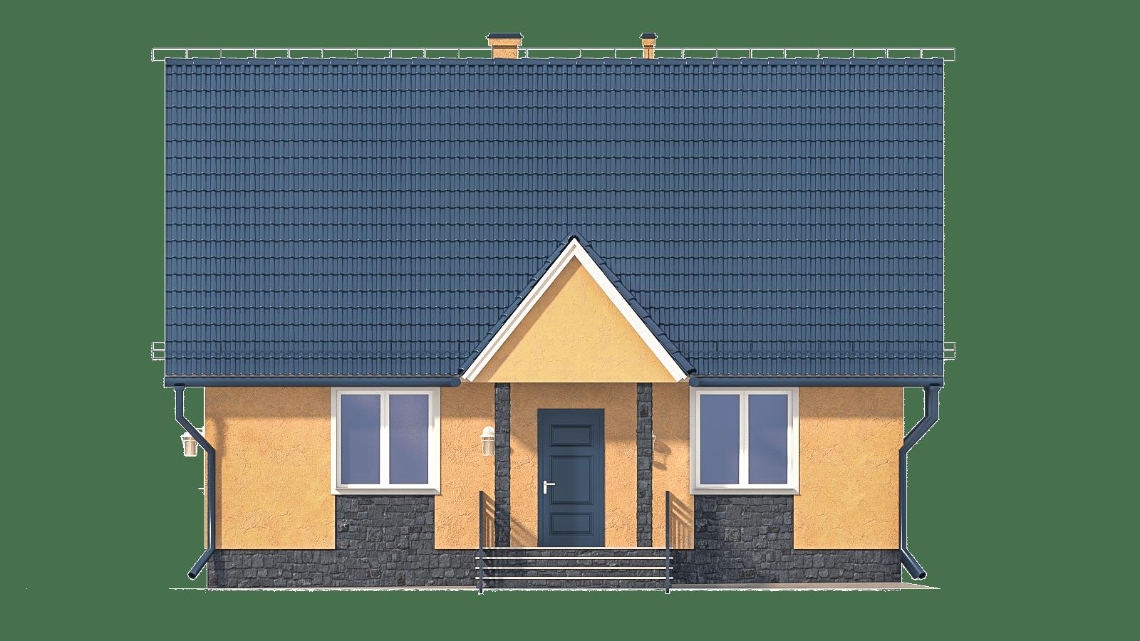 Фасад мансардного дома с террасой «КМ-2» - спереди