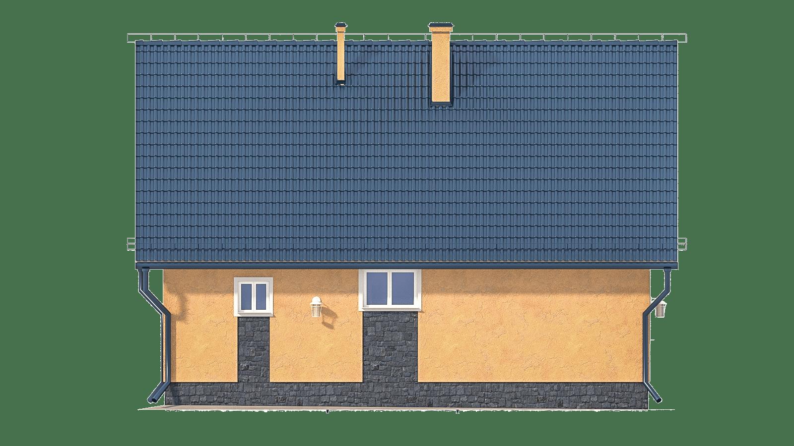 Фасад мансардного дома с террасой «КМ-2» - сзади