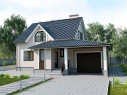 Проект мансардного дома с гаражом и террасой «КМ-20»