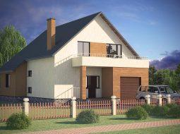 Проект мансардного дома с гаражом, террасой и балконом «КМ-22»