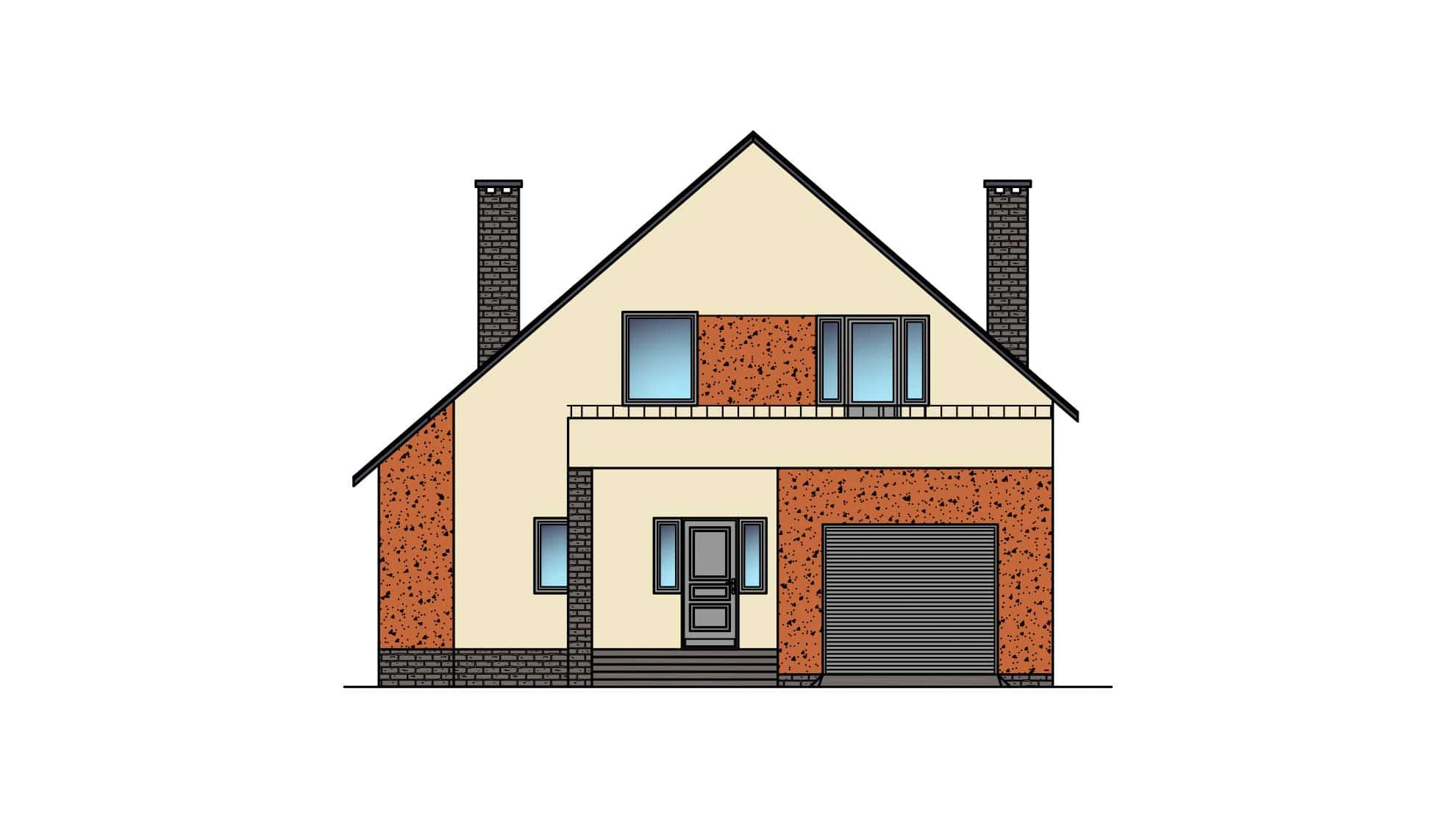 Фасад мансардного дома с гаражом, террасой и балконом «КМ-22» - спереди