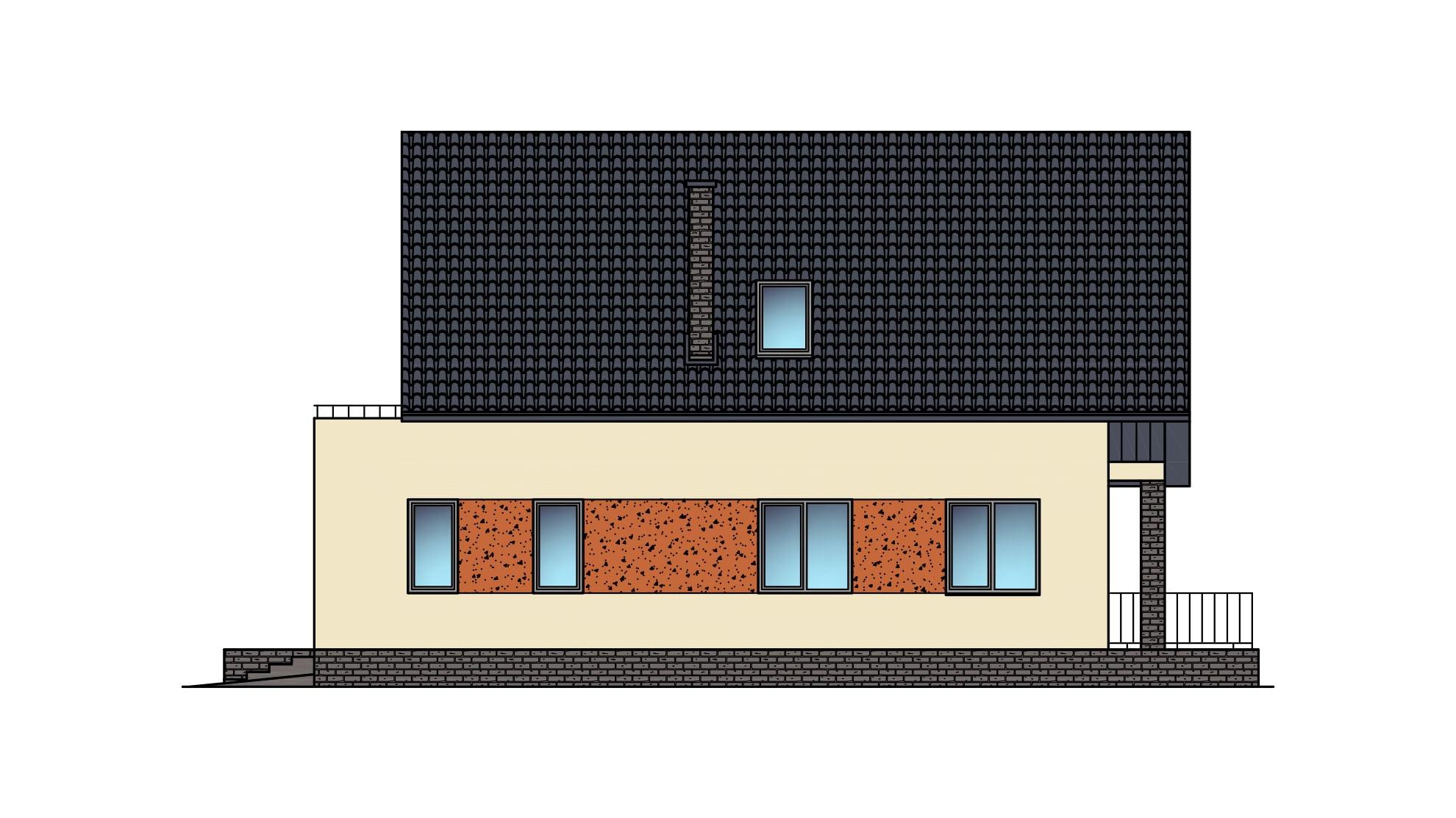 Фасад мансардного дома с гаражом, террасой и балконом «КМ-22» - справа