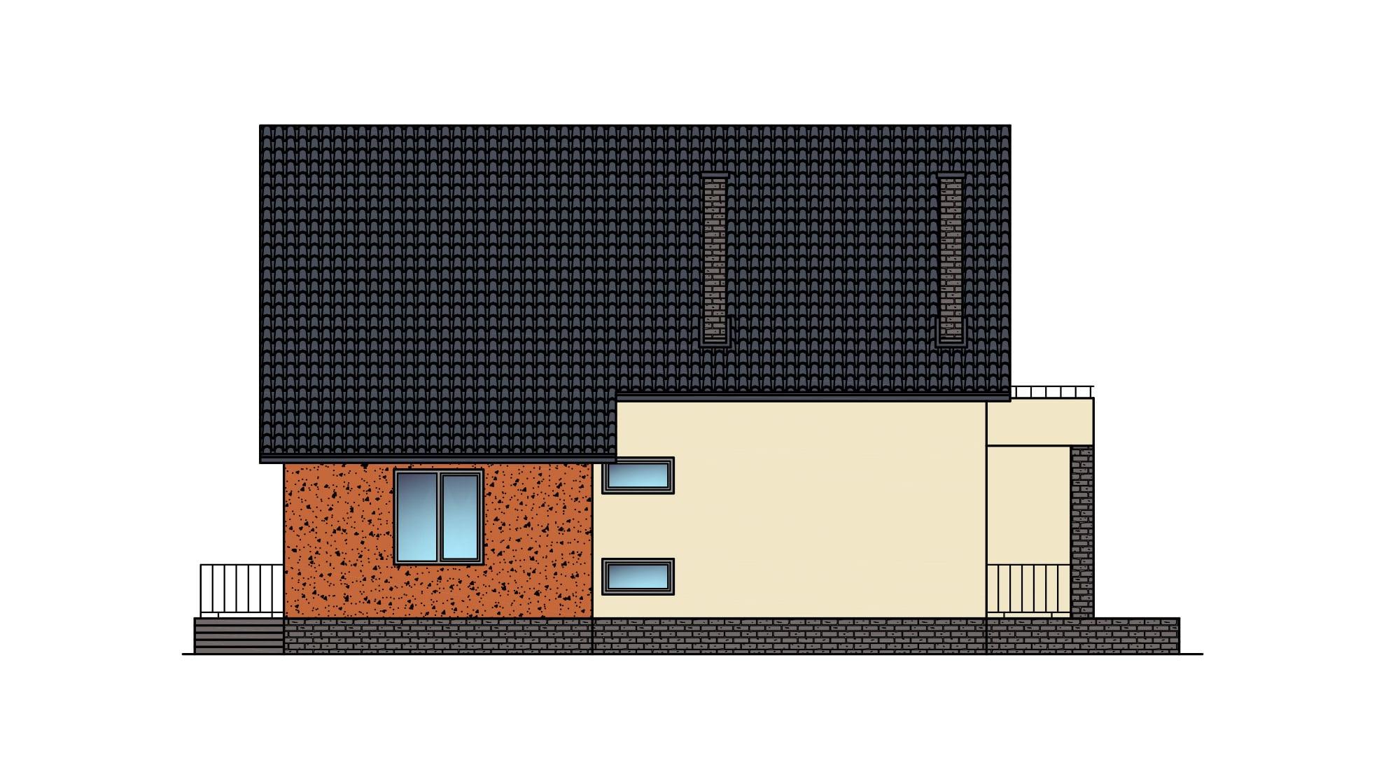 Фасад мансардного дома с гаражом, террасой и балконом «КМ-22» - слева