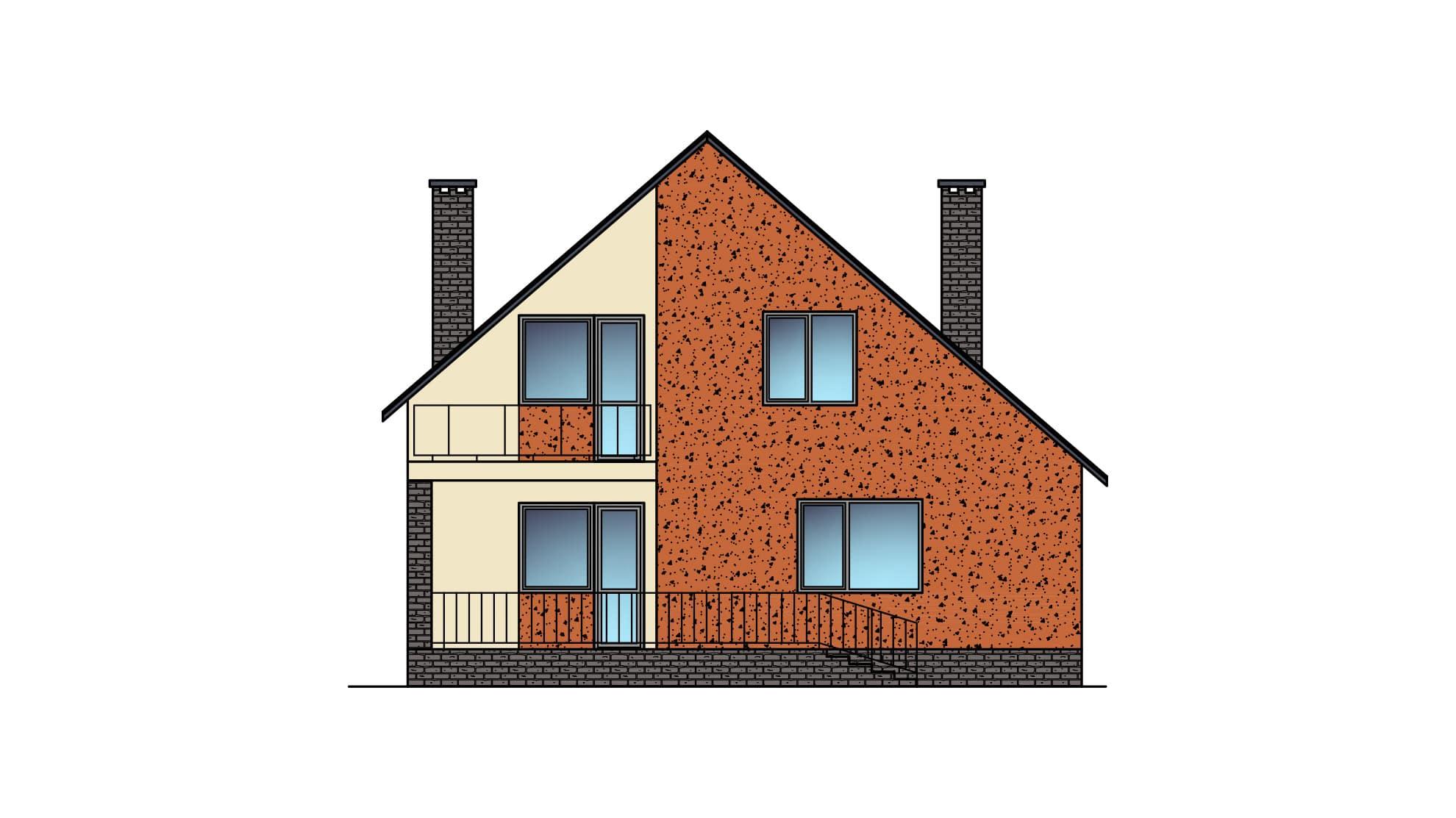 Фасад мансардного дома с гаражом, террасой и балконом «КМ-22» - сзади
