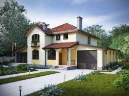 Проект двухэтажного дома с гаражом, террасой и балконом «КМ-24»