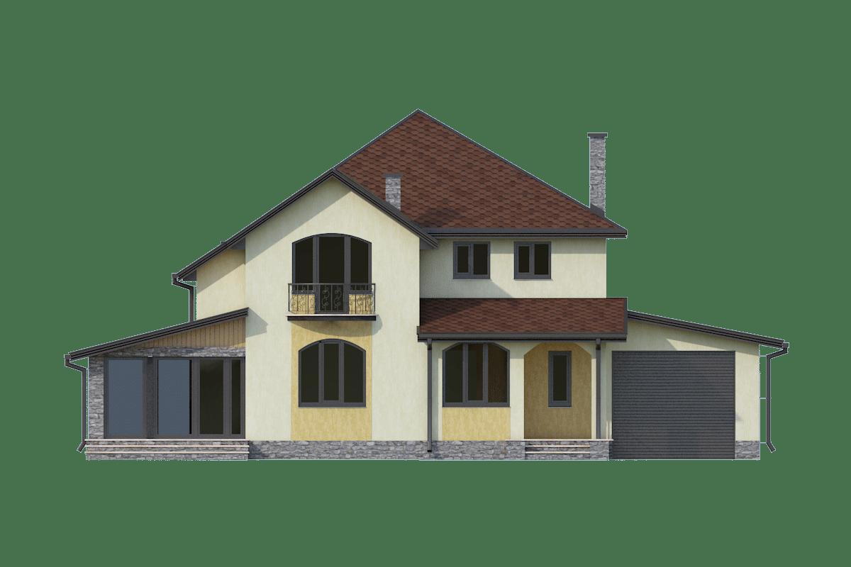 Фасад двухэтажного дома с гаражом, террасой и балконом «КМ-24» - спереди