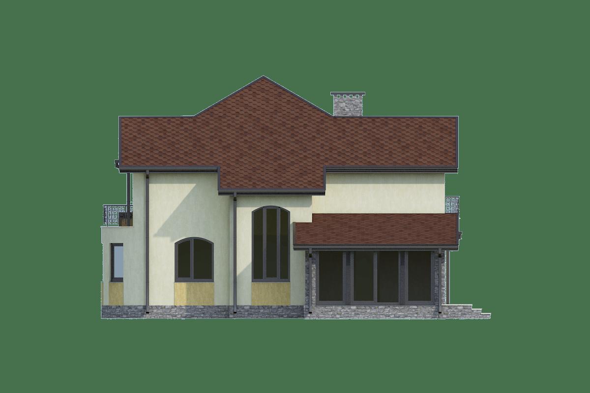 Фасад двухэтажного дома с гаражом, террасой и балконом «КМ-24» - справа