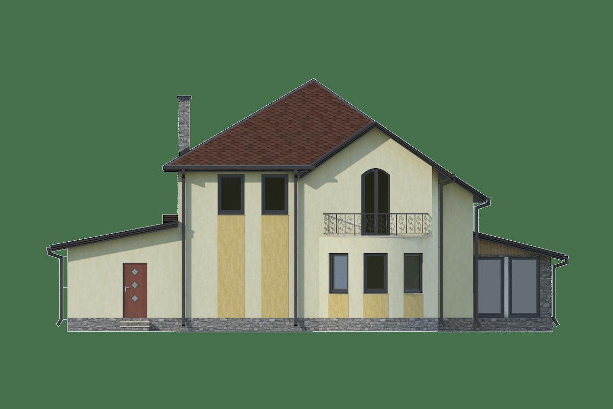 Фасад двухэтажного дома с гаражом, террасой и балконом «КМ-24» - сзади