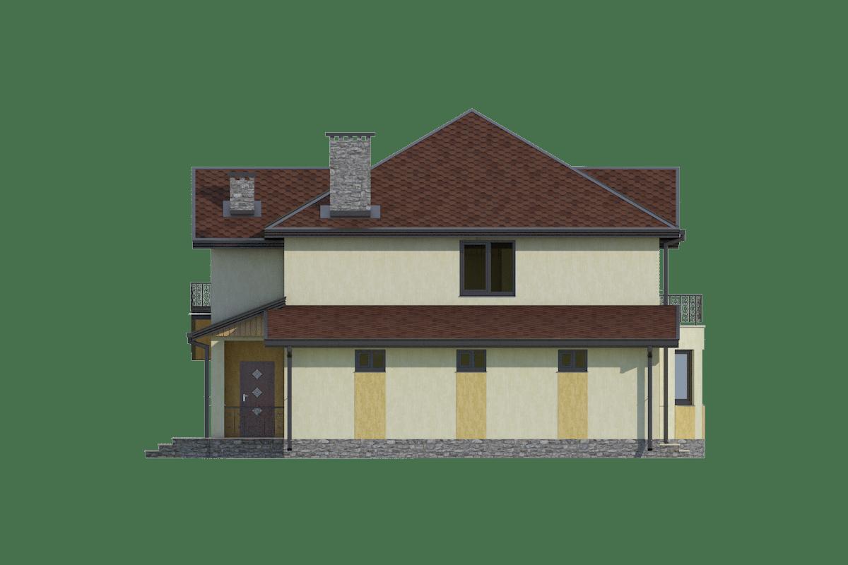 Фасад двухэтажного дома с гаражом, террасой и балконом «КМ-24» - слева