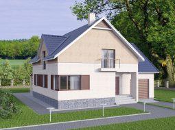 Проект мансардного дома с гаражом, террасой и балконом «КМ-26»