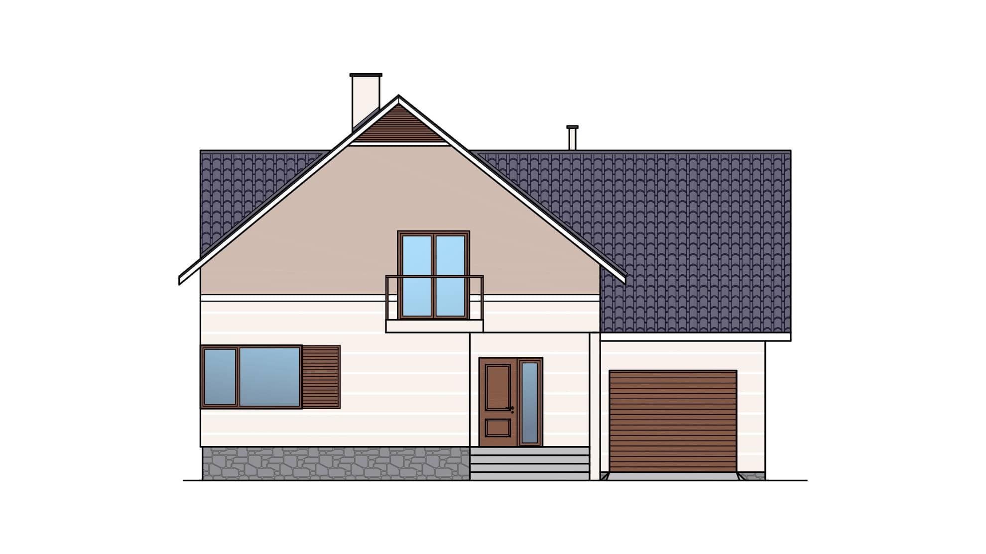 Фасад мансардного дома с гаражом, террасой и балконом «КМ-26» - спереди