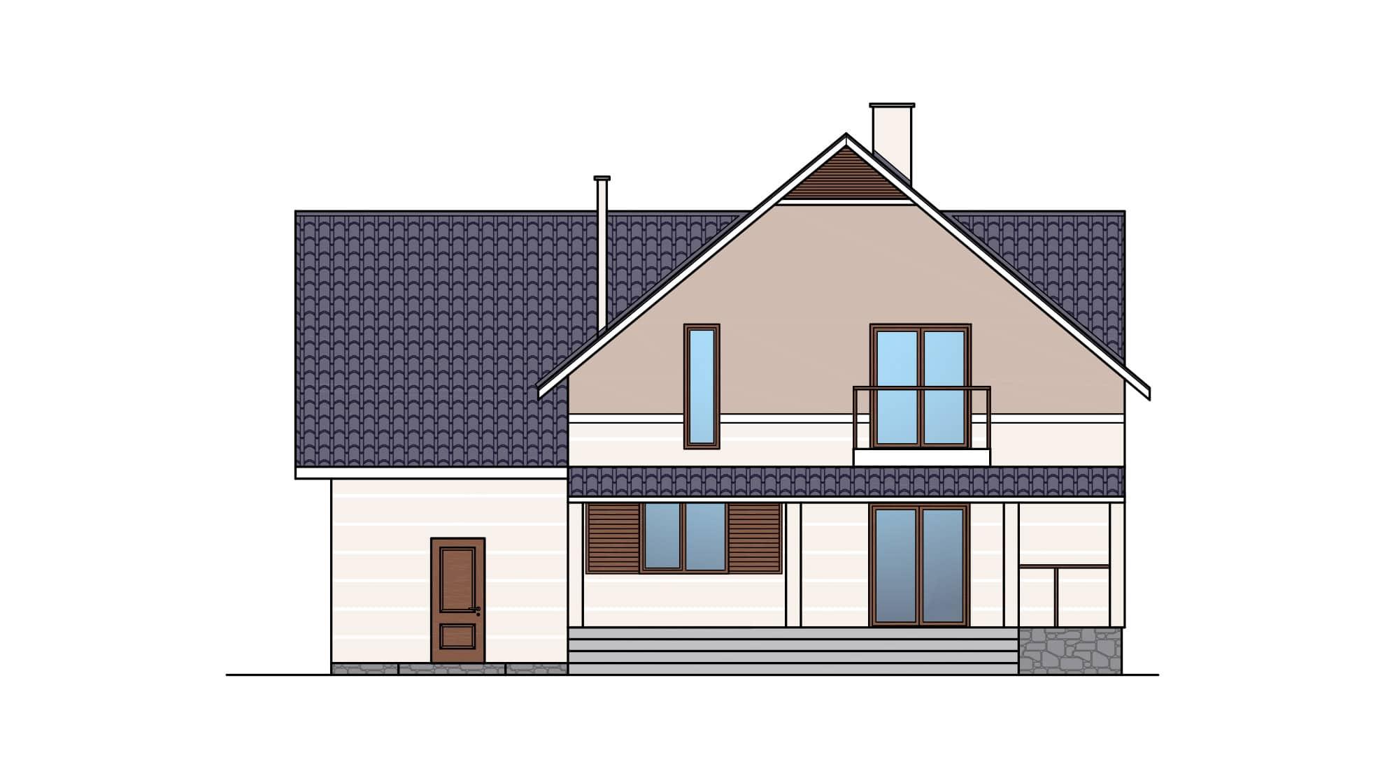 Фасад мансардного дома с гаражом, террасой и балконом «КМ-26» - сзади