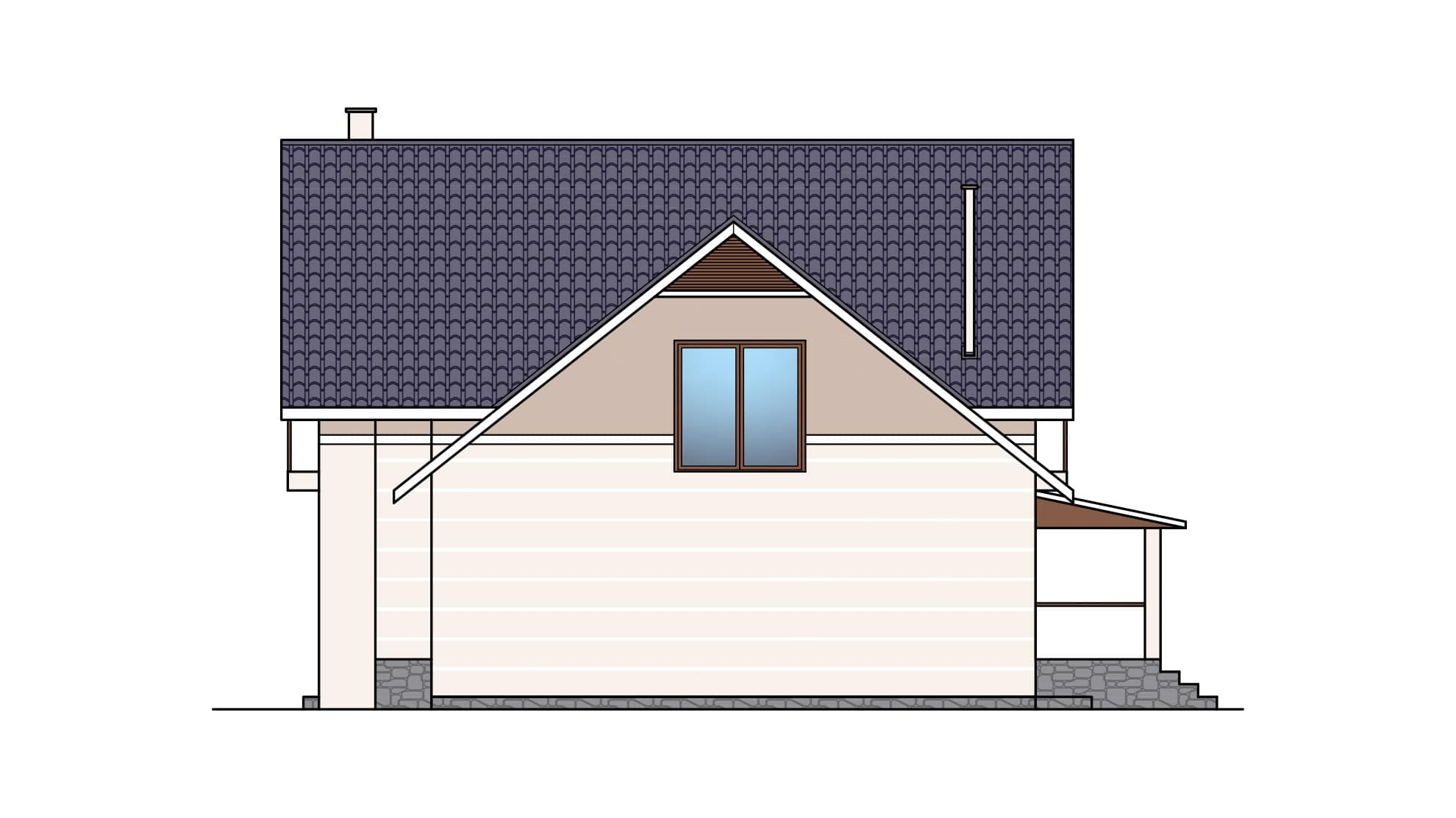 Фасад мансардного дома с гаражом, террасой и балконом «КМ-26» - справа