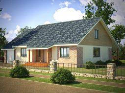 Проект мансардного дома с гаражом, террасой «КМ-27»