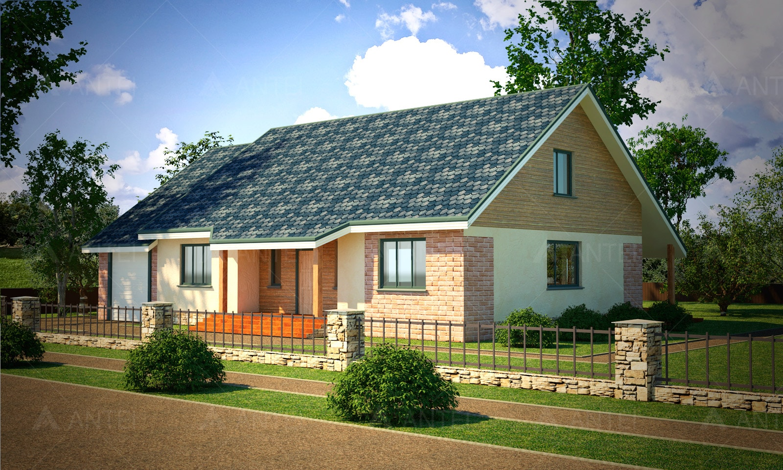 Проект мансардного дома с гаражом, террасой «КМ-27» - фото №1