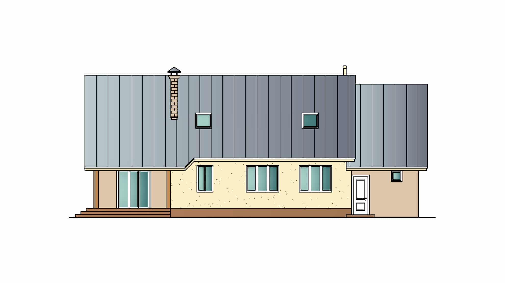 Фасад мансардного дома с гаражом, террасой «КМ-27» сзади