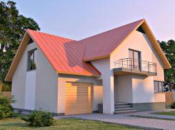 Проект мансардного дома с гаражом, верандой, балконом и террасой «КМ-29»