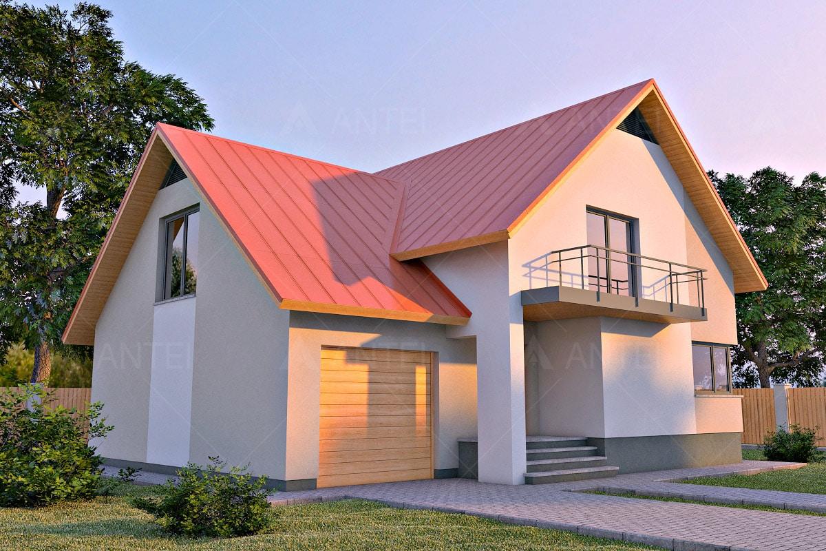 Проект мансардного дома с гаражом, верандой, балконом и террасой «КМ-29» - фото №1