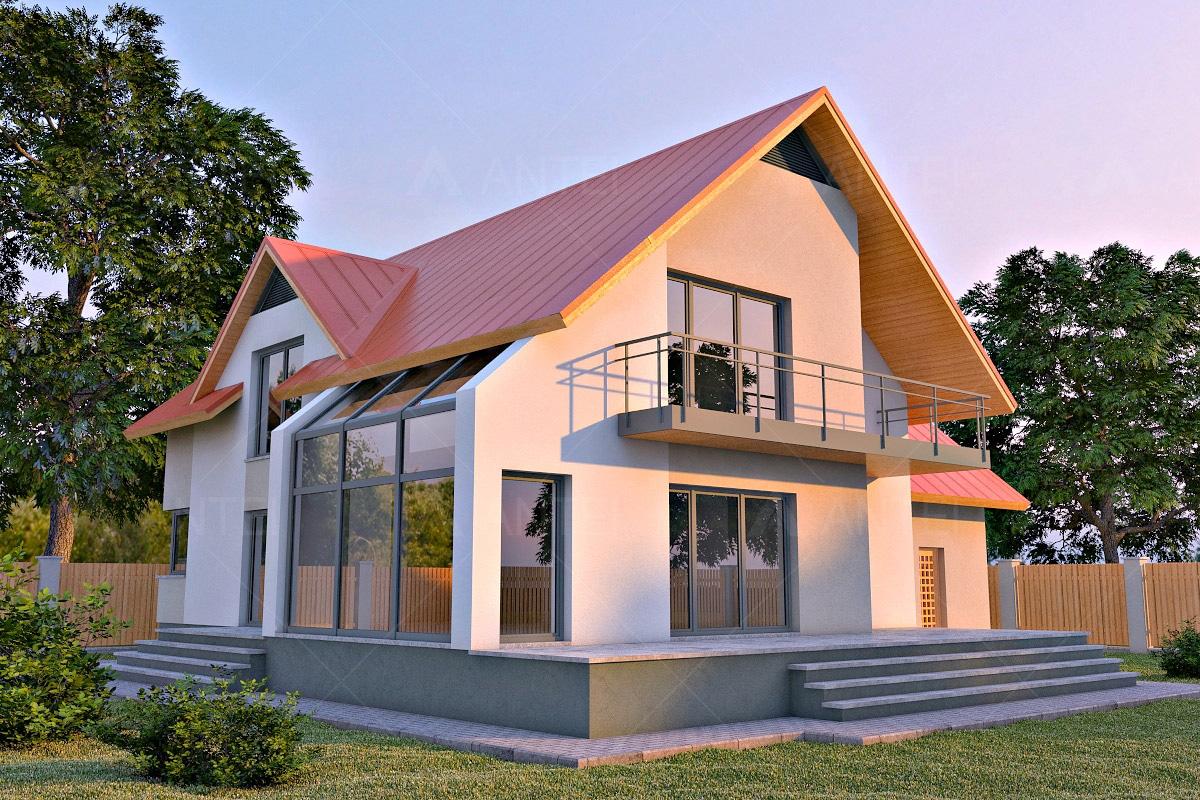 Проект мансардного дома с гаражом, верандой, балконом и террасой «КМ-29» - фото №2