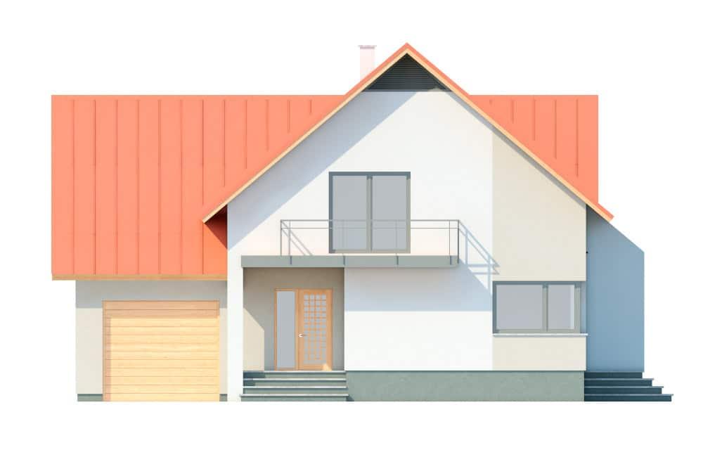 Фасад мансардного дома с гаражом, верандой, балконом и террасой «КМ-29» спереди