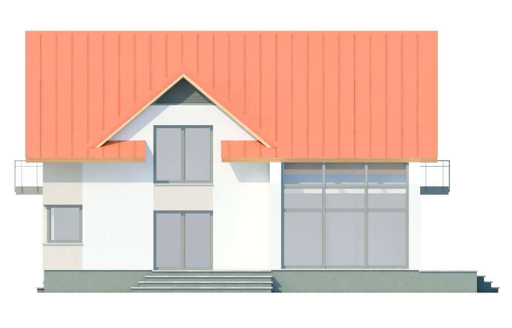 Фасад мансардного дома с гаражом, верандой, балконом и террасой «КМ-29» справа