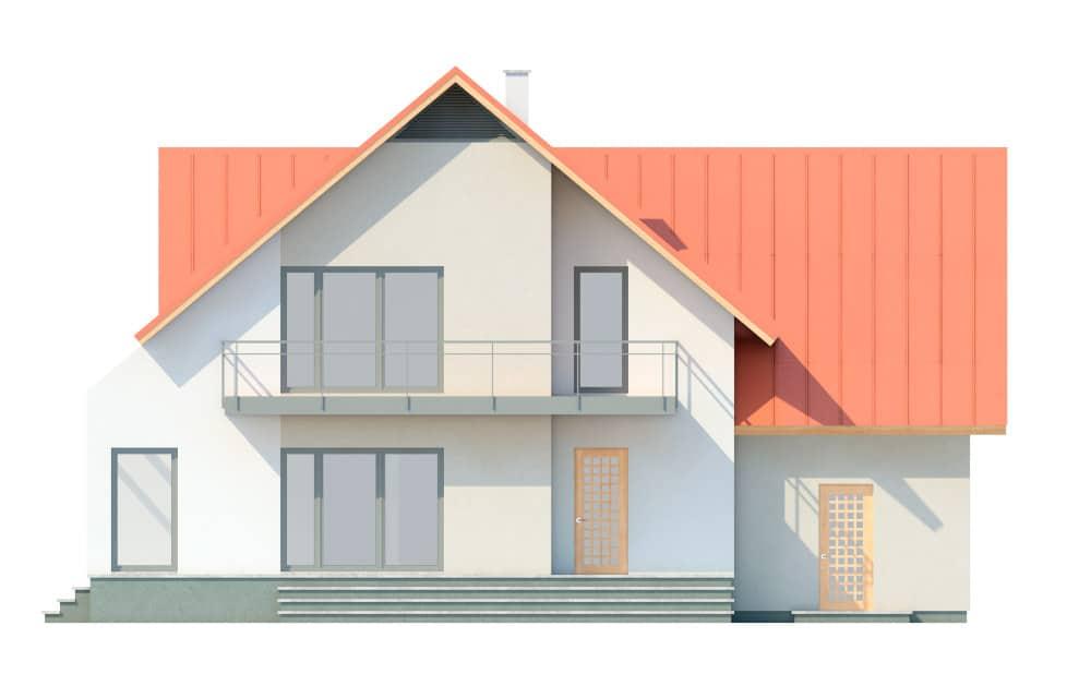 Фасад мансардного дома с гаражом, верандой, балконом и террасой «КМ-29» сзади