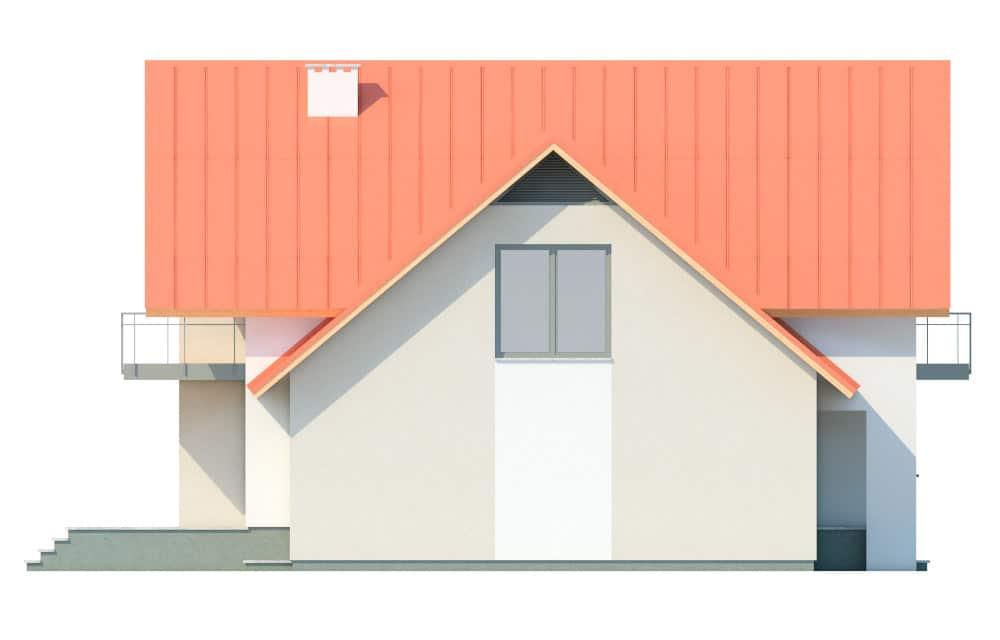 Фасад мансардного дома с гаражом, верандой, балконом и террасой «КМ-29» слева