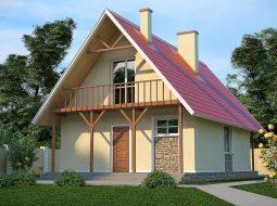 Проект мансардного дома с террасой и балконом «КМ-3»