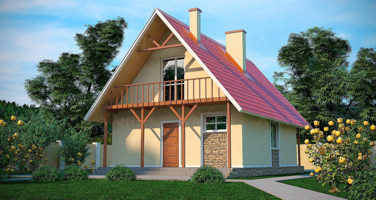 Проект мансардного дома с террасой и балконом «КМ-3» - фото №1