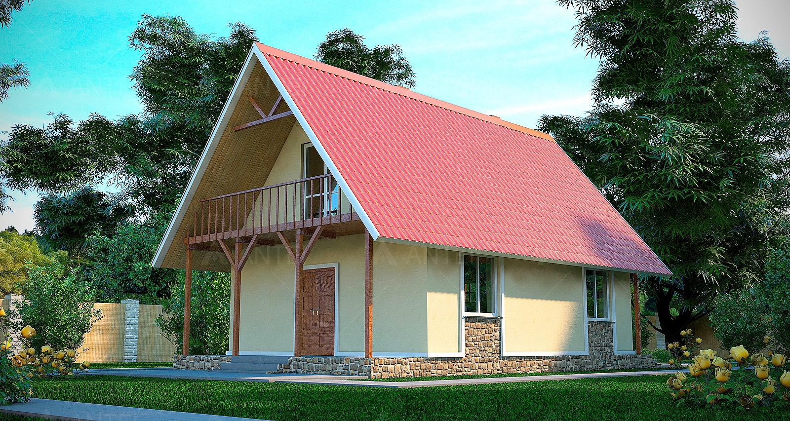 Проект мансардного дома с террасой и балконом «КМ-3» - фото №2