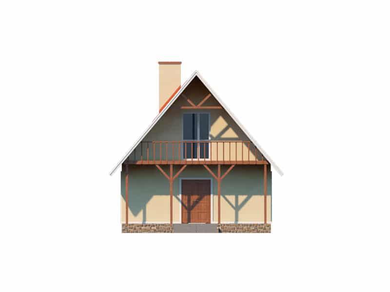 Фасад мансардного дома с террасой и балконом «КМ-3» - сзади