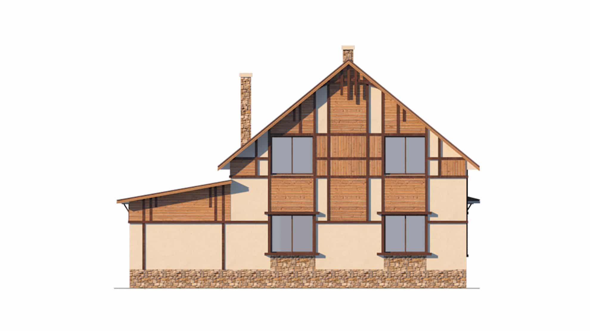 Фасад мансардного дома с гаражом «КМ-34» - сзади