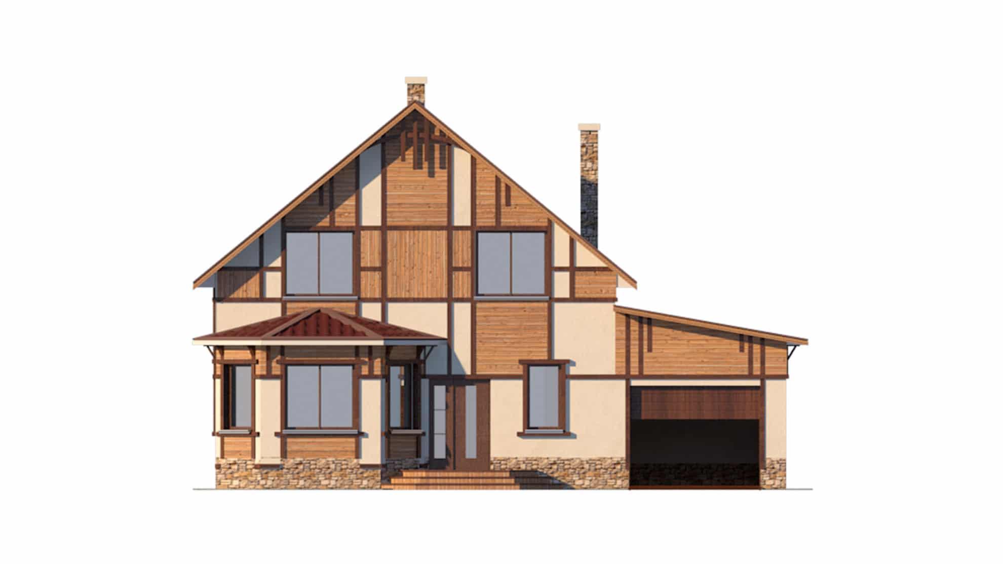 Фасад мансардного дома с гаражом «КМ-34» - спереди